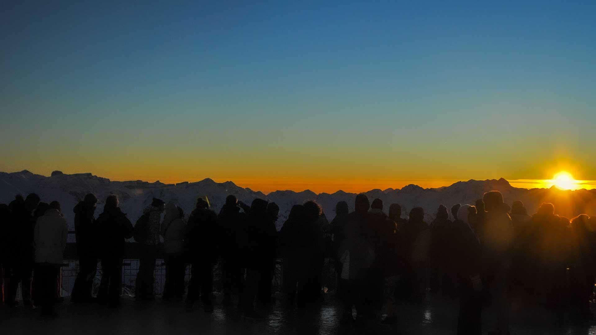 terrasse du Pic du Midi au coucher du soleil